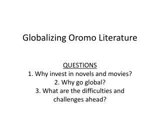 Globalizing Oromo Literature