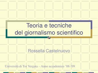 Teoria e tecniche del giornalismo scientifico