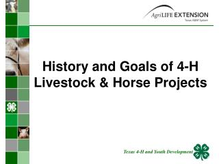 History and Goals of 4-H Livestock & Horse Projects