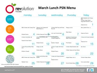 March Lunch PSN Menu
