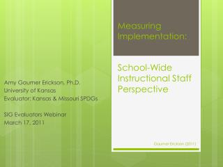 Measuring Implementation:   School-Wide Instructional Staff Perspective