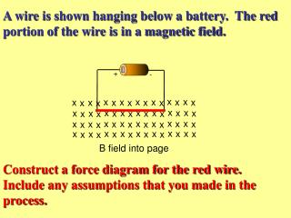 A wire is shown hanging below a battery.  The red portion of the wire is in a magnetic field.