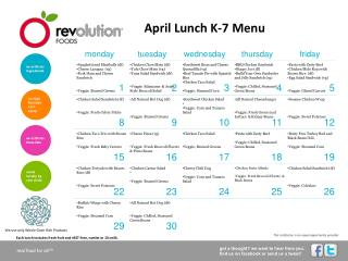 April Lunch K-7 Menu