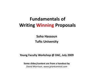 Fundamentals of  Writing  Winning  Proposals