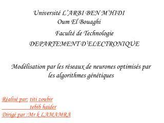Université L'ARBI BEN M'HIDI Oum El Bouaghi