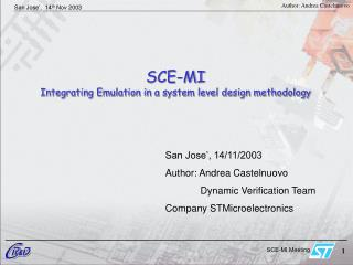 SCE-MI   Integrating Emulation in a system level design methodology