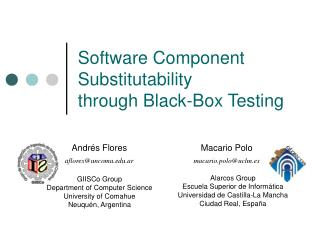 Software Component Substitutability through Black-Box Testing
