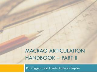 MACRAO Articulation handbook – part ii