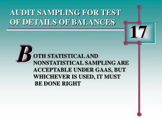 AUDIT SAMPLING FOR TEST OF DETAILS OF BALANCES