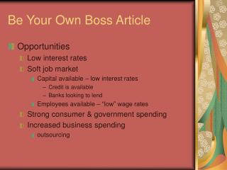 Be Your Own Boss Article