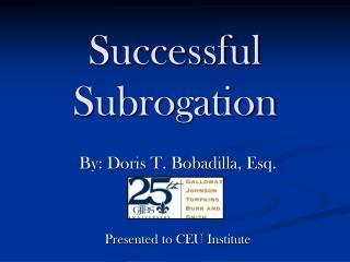 Successful  Subrogation