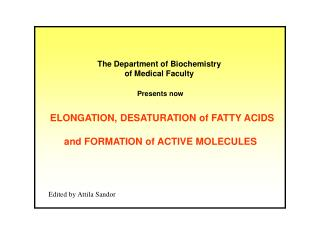 ELONGATION, DESATURATION of FATTY ACIDS and FORMATION of ACTIVE MOLECULES