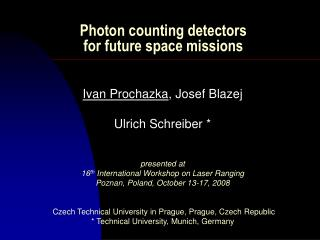 Photon counting detectors  for future space missions