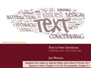 Text in User Interfaces Jim Warren