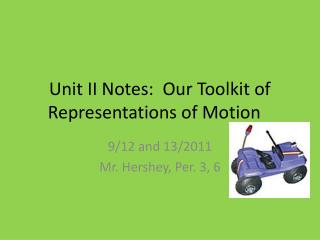 Unit II Notes:  Our Toolkit of Representations of Motion