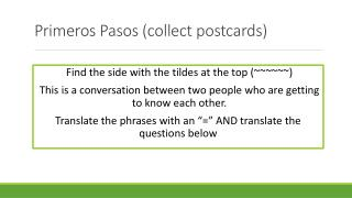 Primeros Pasos (collect postcards)