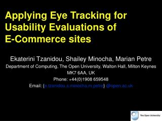 Applying Eye Tracking for Usability Evaluations of  E-Commerce sites