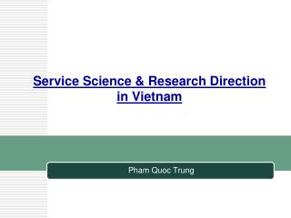 Service Science & Research Direction in Vietnam