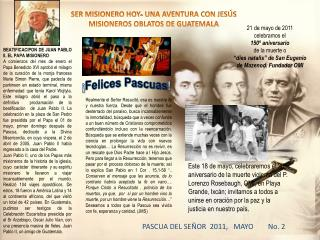 SER MISIONERO HOY- UNA AVENTURA CON JES�S  MISIONEROS OBLATOS DE GUATEMALA