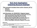 OLC Arch Application:  Checking Account Example
