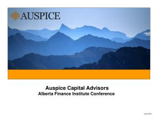 Auspice Capital Advisors Alberta Finance Institute Conference