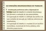 Considera  es preliminares sobre a Organiza  o do Trabalho: