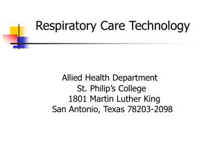 Respiratory Care Technology