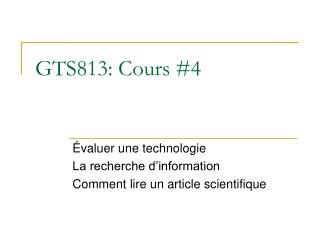 GTS813: Cours #4