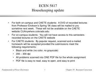 ECEN 5817 Housekeeping update