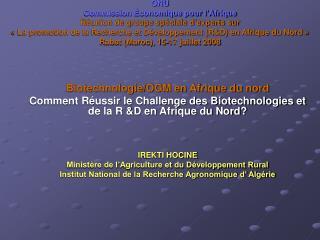 Biotechnologie/OGM en Afrique du nord