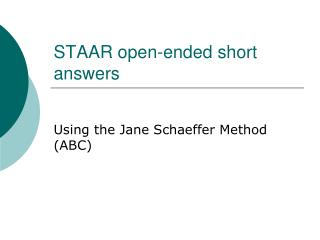 STAAR open-ended short answers