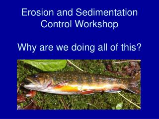 Erosion and Sedimentation  Control Workshop Why are we doing all of this?