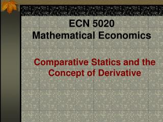 ECN 5020  Mathematical Economics