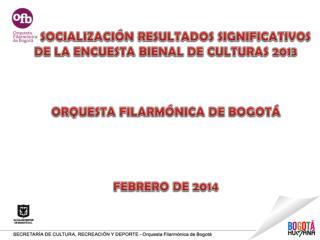 SOCIALIZACIÓN RESULTADOS SIGNIFICATIVOS    DE LA ENCUESTA BIENAL DE  CULTURAS  2013