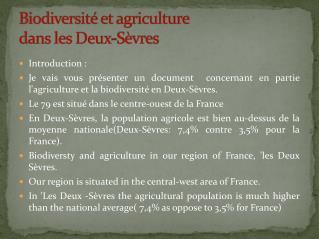 Biodiversité et agriculture  dans les Deux-Sèvres