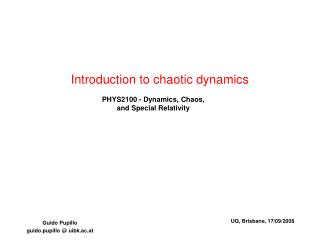 Introduction to chaotic dynamics