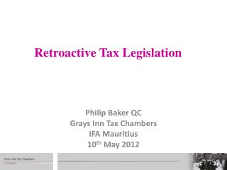 Retroactive Tax Legislation