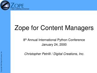 Zope for Content Managers