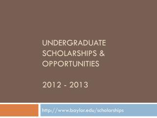 Undergraduate scholarships &  opportunities 2012 - 2013