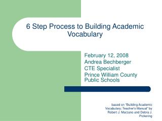 6 Step Process to Building Academic Vocabulary