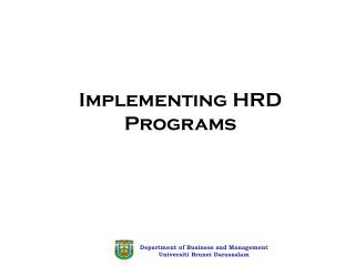 Implementing HRD Programs