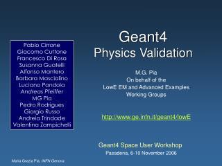 Geant4  Physics Validation