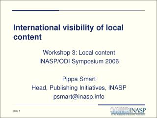 International visibility of local content