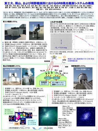 観測小屋  :  停電時に自動的に屋根が閉まる  ( 反重力ルーフ )   望遠鏡  (Meade-LX200) :  口径 30cm 、 最大指向速度  (6 度 / 秒 )