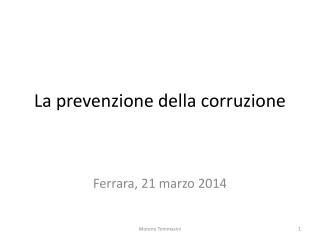 La prevenzione della corruzione
