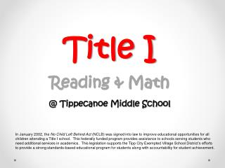 Title I Reading & Math @ Tippecanoe Middle School