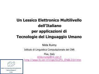 Un Lessico Elettronico Multilivello  dell'Italiano  per applicazioni di
