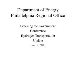 Department of Energy  Philadelphia Regional Office
