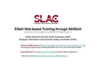 Safety Orientation for Non-SLAC Employees (SON)