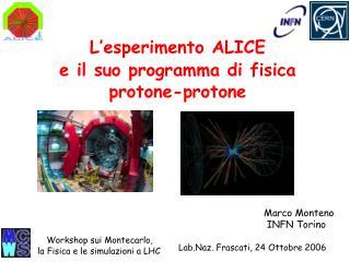 L�esperimento ALICE  e il suo programma di fisica protone-protone